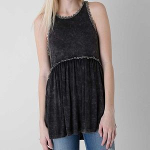 POL Washed Black Lace Tank Top
